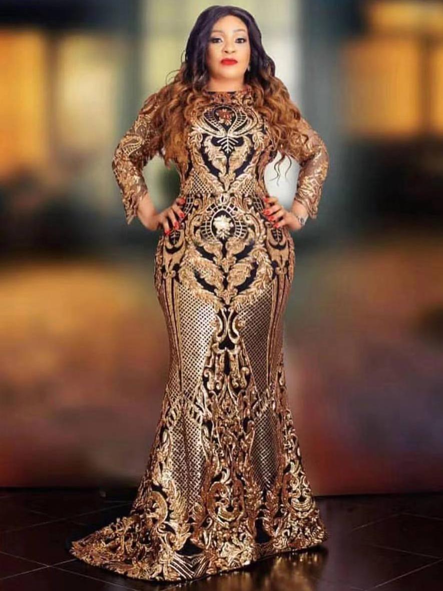 Retro Style Round Collar Golden Sequins Long Evening Dress