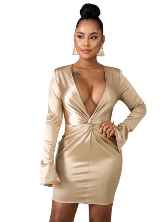 Deep V Neck Pleated Glossy Long Sleeve Short Dress