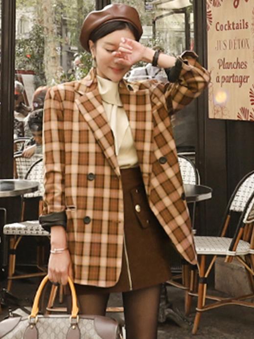 Vintage Plaid Lapel Female Casual Blazer