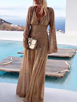 Shinning V Neck Gauze Patchwork Evening Maxi Dresses