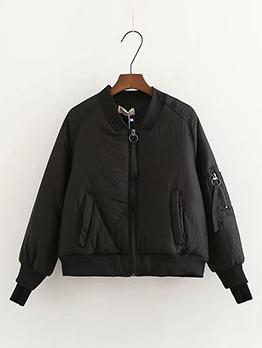 Pure Color Zipper Puff Bomber Jacket