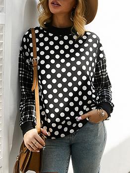 Polka Dots Plaid Patchwork Crewneck Sweatshirt