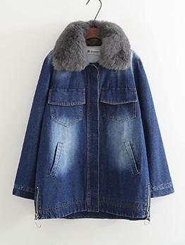 Casual Denim Long Faux Fur Coat
