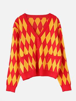 Rhombus Pattern Contrast Color Knit Coat