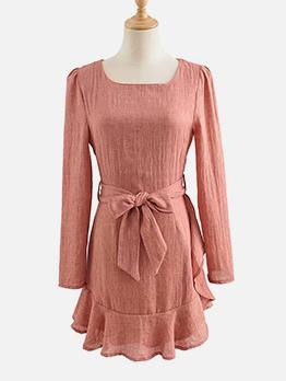 Square Neck Ruffled Hem Tie Wrap Long Sleeve Dress