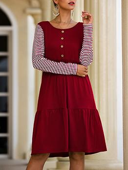 Large Hem Stripes Sleeves Autumn Dress For Women