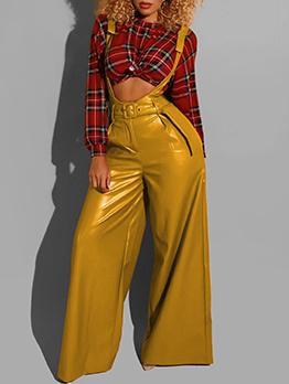 Stylish Solid Suspender Pu Wide Leg Pants