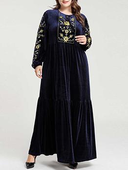 Crew Neck Embroidery Muslim Maxi Plus Size Dresses