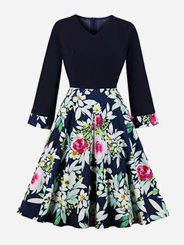 V Neck Large Hem Long Sleeve Printed Dress