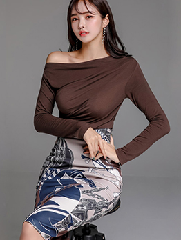 Elegant Inclined Shoulder Crop Top And Skirt Set
