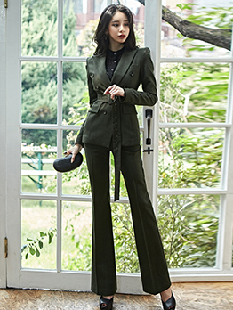 Formal Double-Breasted Solid Ladies Suit