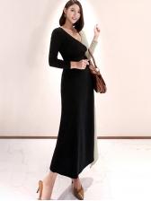 Stitching Color Tie-Wrap V Neck Cotton Maxi Dresses