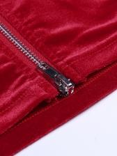 Mock Neck One Shoulder Velvet Dresses For Women