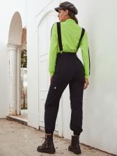 High Waist Black Cargo Pants With Baldric