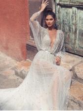 Shinning V Neck Gauze Backless Swing White Maxi Dress