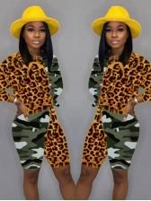 Camouflage Patchwork Leopard Two Piece Short Set