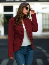 Double Breasted Solid Women Short Winter Coats