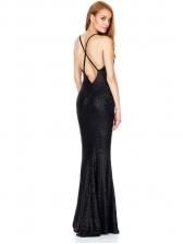 V Neck Sleeveless Split Backless Sequin Prom Dresses