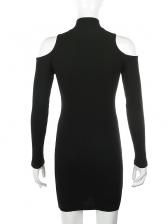 Cold Shoulder Zipper Up Black Long Sleeve Bodycon Dress