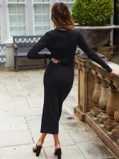 Solid High Neck Long Sleeve Midi Dress