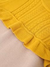 Two Tone Ruffled Long Sleeve Sweater Dress