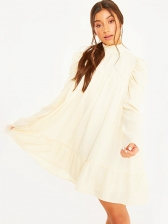 Solid Stand Collar Long Sleeve Dress Casual