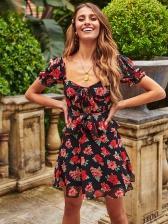 Sweet Ruffled Short Sleeve Floral Dress