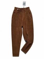 Casual High Waist Corduroy Pants