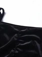 Pleated Velvet Back Tie Black Blouse
