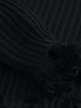 Tassel Hem Zipper Up High Neck Knit Coat