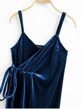 V Neck Lace-Up Velvet Spaghetti Strap Sexy Dress