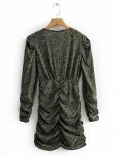 Deep V Neck Pleated Design Floral Long Sleeve Dress