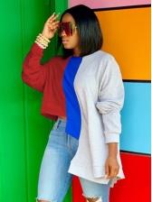Irregular Contrast Color Sweatshirts for women