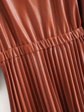Three Quarter Sleeve Lace Hem Pleated Pu Midi Dress