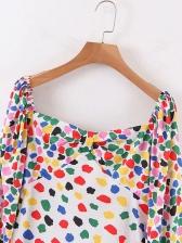 V Neck Colorful Spots Lantern Sleeve Maxi Dresses