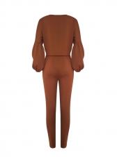 Off Shoulder Lantern Sleeve Ribbed Trouser Sets
