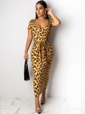 Trendy Bandage Short Sleeve Leopard Print Maxi Dresses