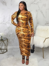 Crew Neck Digital Printing Fitted Long Sleeve Maxi Dresses