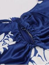 Fashion Drawstring Printed Sleeveless Dress