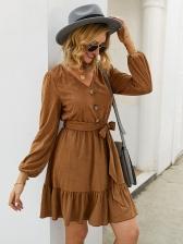 Solid Color Tie-Wrap Flounce Hem Long Sleeve Dress