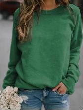 Casual Loose Solid Ladies Crewneck Sweatshirt