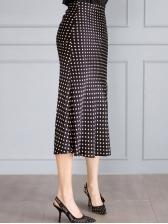 Elegant Polka Dots Pencil Two Piece Skirt Set