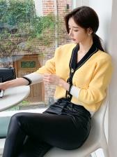 Modern Contrast Color v Neck Knit Cardigan