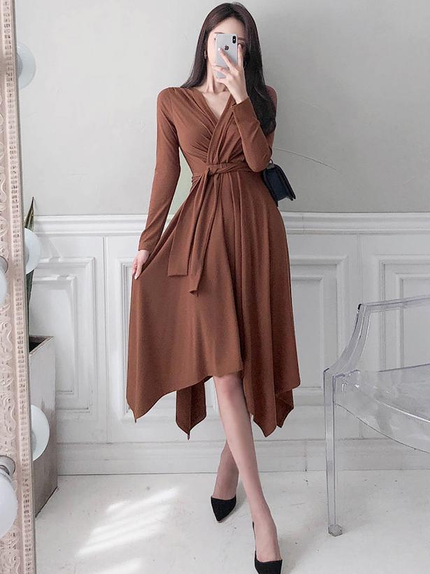 Slim v Neck Lace Up Solid Midi Dress