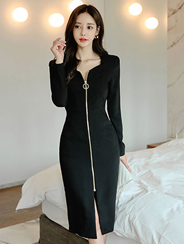 Solid Simple Zipper Up Women Black Dress