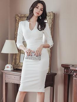 Graceful Long Sleeve v Neck White Dress