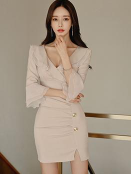 Graceful Solid Ruffled Hem Long Sleeve Bodycon Dress