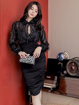 Patchwork Keyhole Black Long Sleeve Bodycon Dress