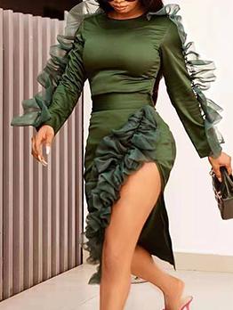 Stringy Selvedge Split Long Sleeve Dress