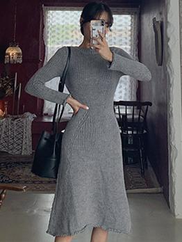 Ribbing Slim Fit Solid Sweater Dress